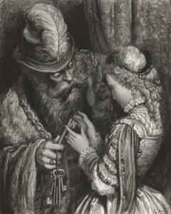 Barbablù di Charles Perrault consegna la chiave a sua moglie nell'illustrazione di Gustave Doré del 1862