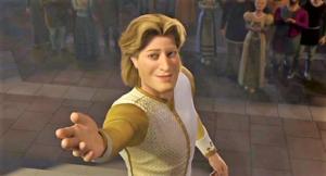 Azzurro principe in Shrek con un sorriso di plastica porge la mano alla principessa Fiona