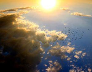Un cielo col sole all'orizzonte e nuvole tinte dal sole
