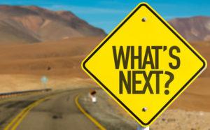 Un paesaggio desertico una strada con la mezzeria gialla davanti un cartello giallo con la domanda what's next?