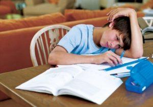 Un ragazzo con la testa reclinata sui compiti delle vacanze studia malvolentieri